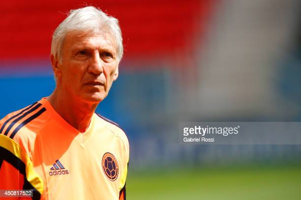 Jose Nestor Pekerman head coach of Colombia looks on during the training session ahead of the Group C match between Colombia and Cote D'Ivoire as...