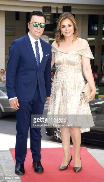 Jose Ortega Cano and Ana Maria Aldon attend the wedding of Dámaso González Jr And Miriam Lanza at Albacete Cathedral on July 05 2019 in Albacete Spain