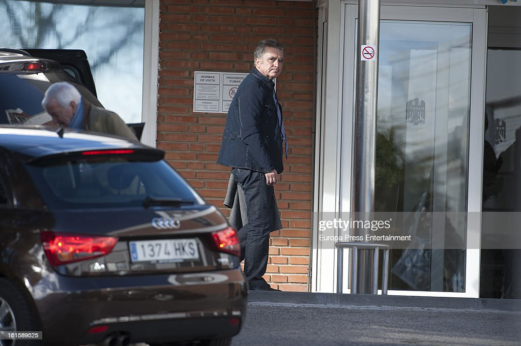 Jose Ortega Cano is seen after his girlfriend Ana Maria Aldon has given birth a baby at Ruber International Hospital on February 11, 2013 in Madrid, Spain.