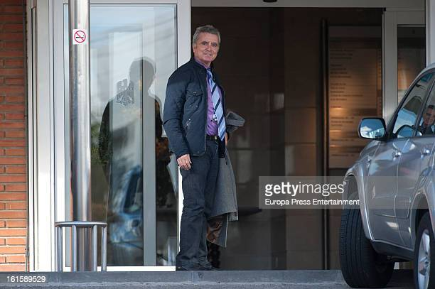 Jose Ortega Cano is seen after his girlfriend Ana Maria Aldon has given birth a baby at Ruber International Hospital on February 11, 2013 in Madrid,...