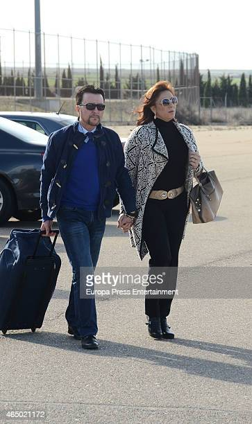 Jose Ortega Cano is seen with his wife Ana Maria Aldon, going back to prison on March 2, 2015 in Zaragoza, Spain. The former bullfighter was allowed...