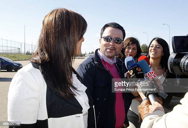 Jose Ortega Cano is seen with his wife Ana Maria Aldon going back to prison on April 8 2015 in Zaragoza Spain