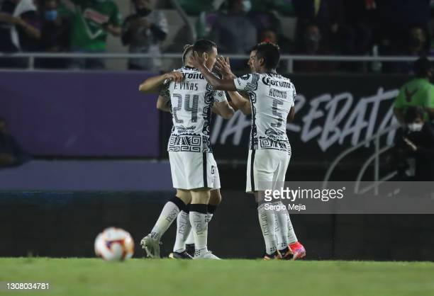 Jose Ortiz celebrates with temmates after scoring his team's first goal during the 12th round match between Mazatlan FC and America as part of the...