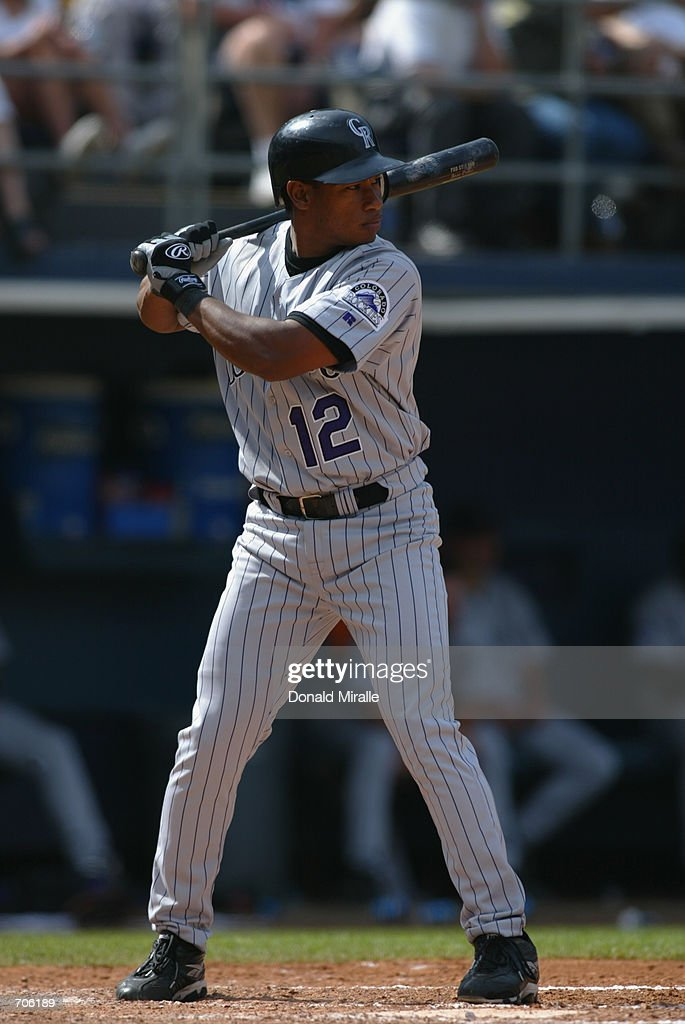 Jose Ortiz #12 of the Colorado Rockies stands ready at bat during their game against the San Diego Padres on May 30, 2002 at Qualcomm Stadium, in San Diego, California. The Rockies won 4-2.