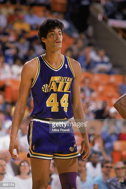 Jose Ortiz of the Utah Jazz stands on the court during an NBA game at The Salt Palace in Salt Lake City Utah in 1989