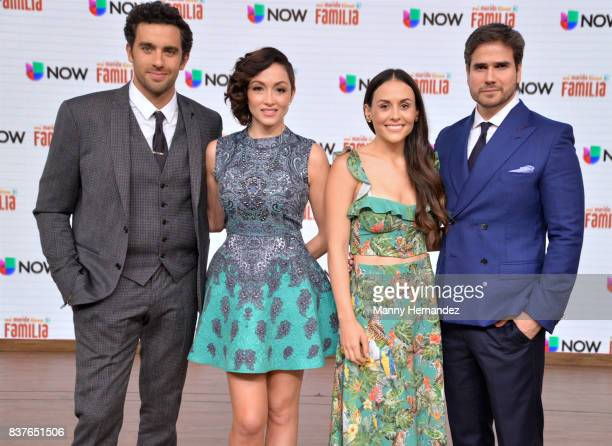 Jose Pablo Minor Laura Vignatti Zuria Vega and Daniel Arenas at the Press Conference for new soap opera Mi Marido Tiene Familia at Univision Studios...