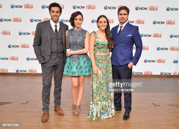Jose Pablo Minor Laura Vignatti Zuria Vegaand Daniel Arenas at the Press Conference for new soap opera Mi Marido Tiene Familia at Univision Studios...