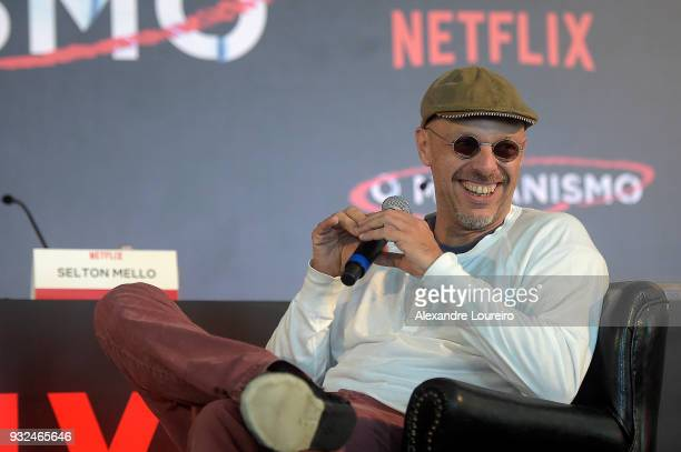 Jose Padilha speaks during the press conference for the new Netflix series O Mecanismo at the Belmond Copacabana Palace Hotel on March 15 2018 in Rio...