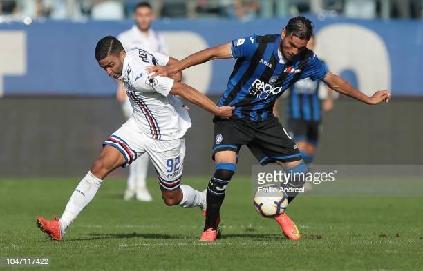 Jose Palomino of Atalanta BC competes for the ball with Gregoire Defrel of UC Sampdoria during the Serie A match between Atalanta BC and UC Sampdoria...