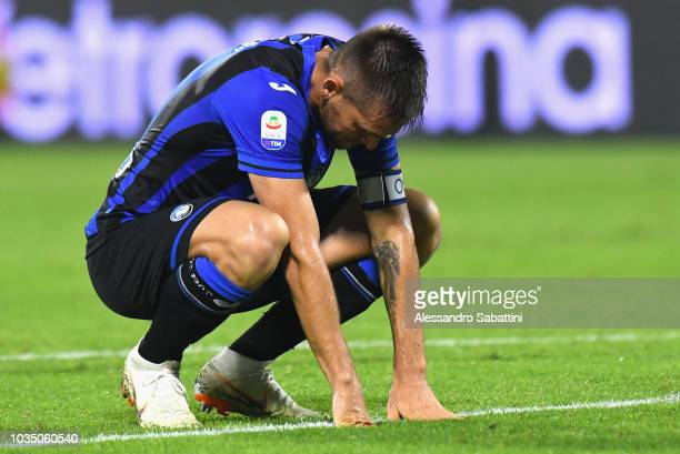 Jose Palomino of Atalanta BC reacts during the serie A match between SPAL and Atalanta BC at Stadio Paolo Mazza on September 17 2018 in Ferrara Italy