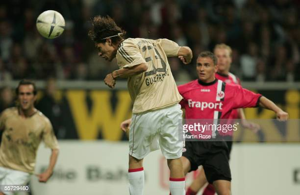 Jose Paolo Guerrero of Bayern scores the first goal during the Bundesliga match between Eintracht Frankfurt and Bayern Munich at the Commerzbank...