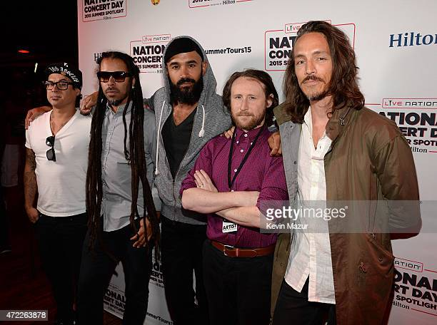 Jose Pasillas Chris Kilmore Ben Kenney Mike Einziger and Brandon Boyd of Incubus arrive as Live Nation Celebrates National Concert Day At Their 2015...