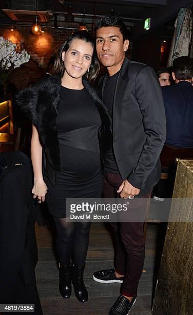 Jose Paulo Bezerra Maciel Junior aka Paulinho and wife Barbara Cartaxo attend the Jinjuu launch dinner Kingly Street at Jinjuu on January 22 2015 in...
