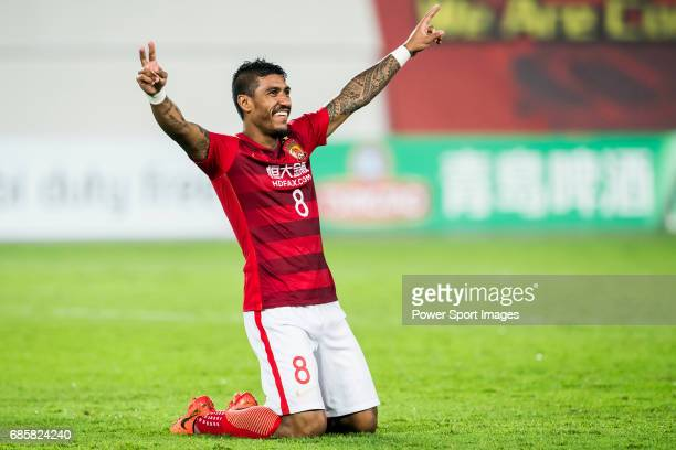 Jose Paulo Bezerra Maciel Junior of Guangzhou Evergrande FC celebrates during their AFC Champions League 2017 Match Day 1 Group G match between...