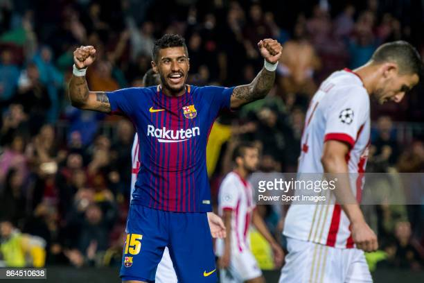 Jose Paulo Bezerra Maciel Junior Paulinho of FC Barcelona celebrates during the UEFA Champions League 201718 match between FC Barcelona and...