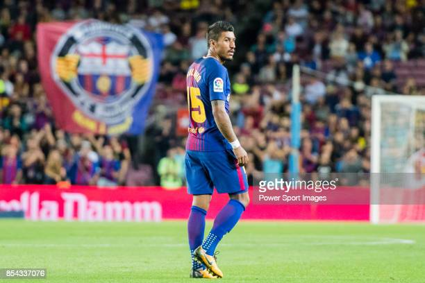 Jose Paulo Bezerra Maciel Junior Paulinho of FC Barcelona looks during the La Liga 201718 match between FC Barcelona and SD Eibar at Camp Nou on 19...