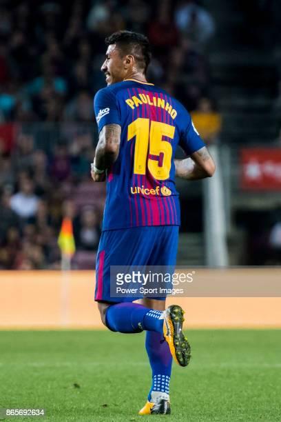 Jose Paulo Bezerra Maciel Junior Paulinho of FC Barcelona reacts during the La Liga 201718 match between FC Barcelona and Malaga CF at Camp Nou on 21...