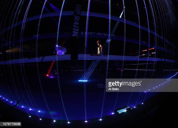 Jose Pedraza looks on before his fight against Vasiliy Lomachenko during their WBA/WBO lightweight unification bout at The Hulu Theater at Madison...