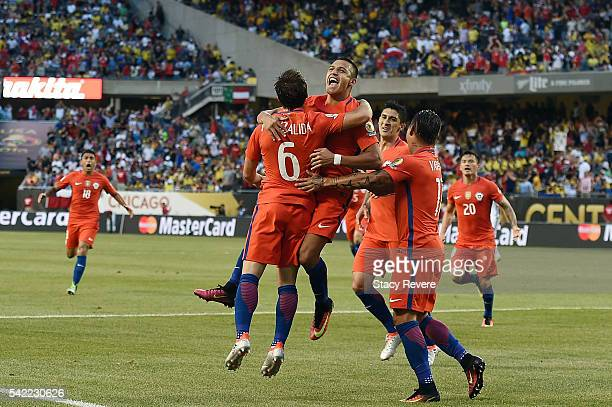 Jose Pedro Fuenzalida of Chile celebrates a goal with teammates in the first half during a 2016 Copa America Centenario Semifinal match against...