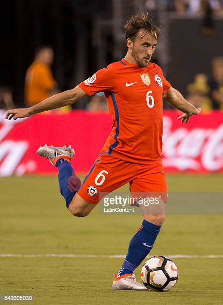 Jose Pedro Fuenzalida of Chile in action during the first half of the championship match between Argentina and Chile at MetLife Stadium as part of...