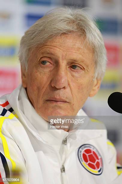 Jose Pekerman coach of Colombia attends a press conference at San Carlos de Apoquindo training camp on June 13 2015 in Santiago Chile Colombia will...