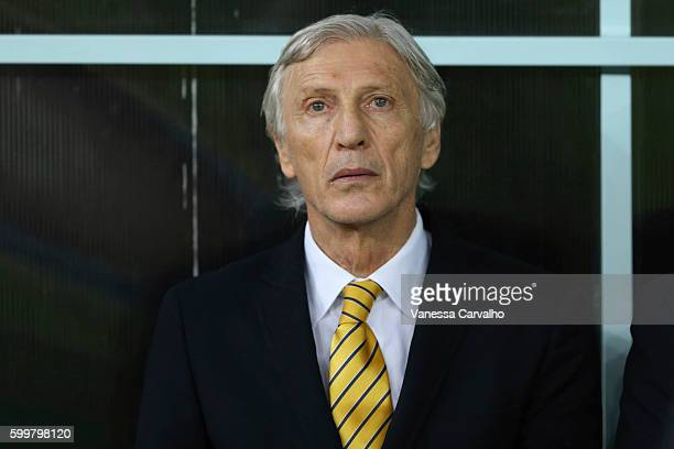 Jose Pekerman coach of Colombia looks on before a match between Brazil and Colombia as part of FIFA 2018 World Cup Qualifiers at Arena Amazonia...