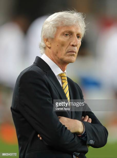 Jose Pekerman coach of Colombia looks on during a match between Peru and Colombia as part of FIFA 2018 World Cup Qualifiers at Monumental Stadium on...