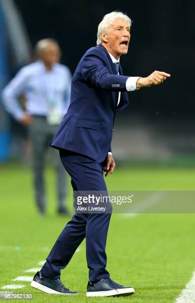 Jose Pekerman Head coach of Colombia gives his team instructions during the 2018 FIFA World Cup Russia group H match between Poland and Colombia at...