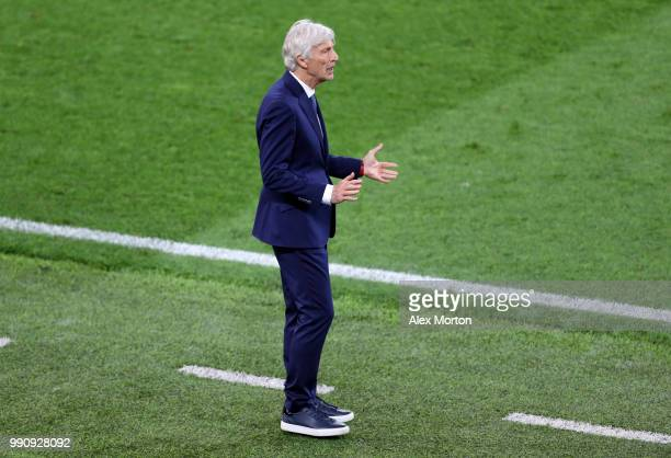 Jose Pekerman Head coach of Colombia gives instructions during the 2018 FIFA World Cup Russia Round of 16 match between Colombia and England at...