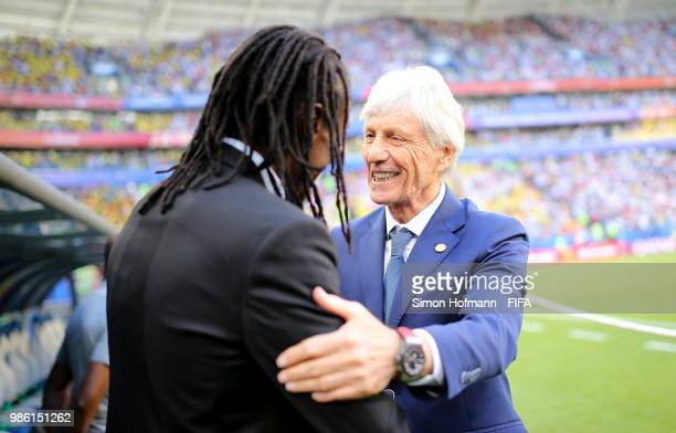 Jose Pekerman Head coach of Colombia greets Aliou Cisse Head coach of Senegal prior to the 2018 FIFA World Cup Russia group H match between Senegal...
