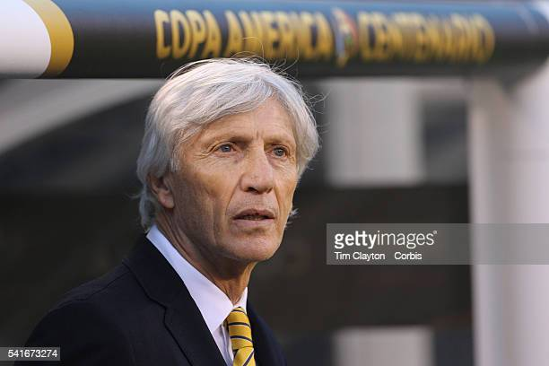 Jose Pekerman head coach of Colombia in the dugout before the Colombia Vs Peru Quarterfinal match of the Copa America Centenario USA 2016 Tournament...