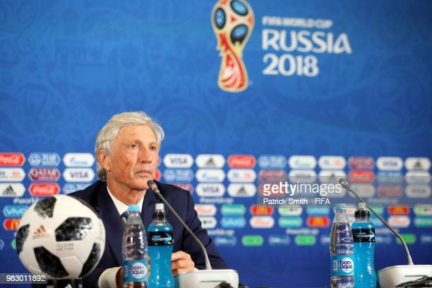 Jose Pekerman Head coach of Colombia looks on during the press conference after the 2018 FIFA World Cup Russia group H match between Poland and...