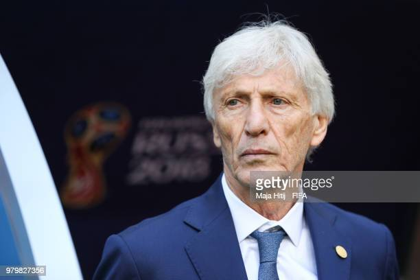 Jose Pekerman Head coach of Colombia looks on prior to the 2018 FIFA World Cup Russia group H match between Colombia and Japan at Mordovia Arena on...