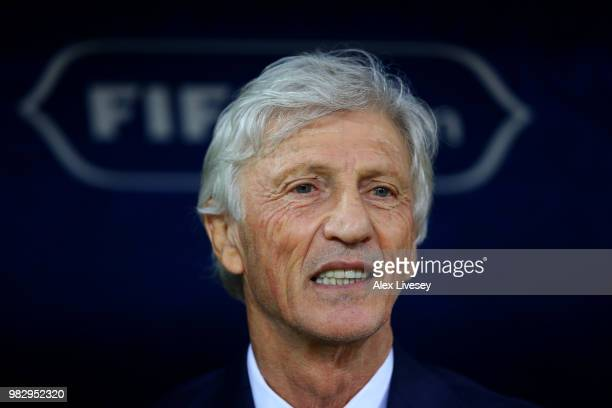 Jose Pekerman Head coach of Colombia looks on prior to the 2018 FIFA World Cup Russia group H match between Poland and Colombia at Kazan Arena on...
