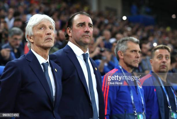 Jose Pekerman Head coach of Colombia looks on prior to the 2018 FIFA World Cup Russia Round of 16 match between Colombia and England at Spartak...