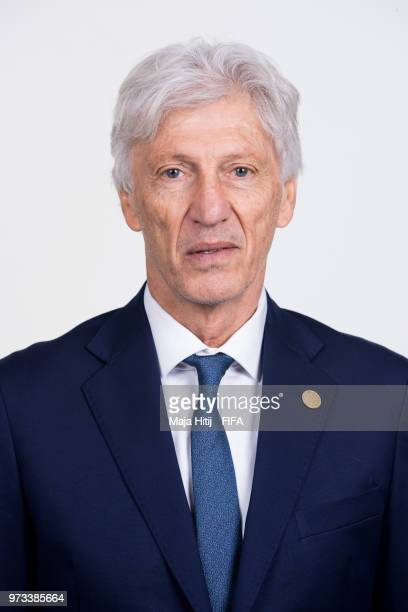Jose Pekerman head coach of Colombia poses for a portrait during the official FIFA World Cup 2018 portrait session at Kazan Ski Resort on June 13...