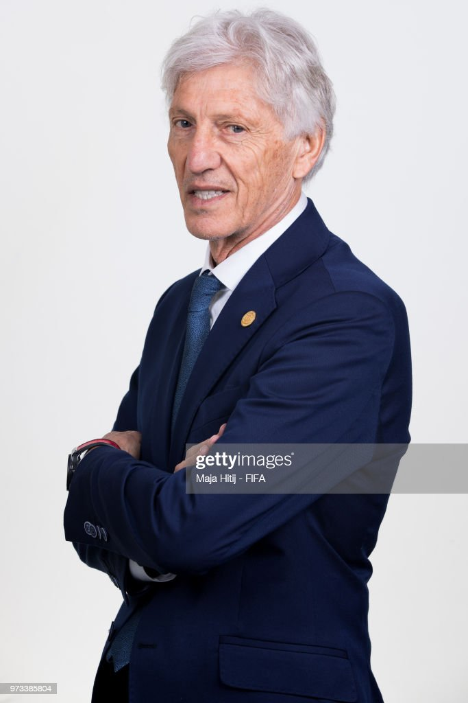 Jose Pekerman head coach of Colombia poses for a portrait during the official FIFA World Cup 2018 portrait session at Kazan Ski Resort on June 13, 2018 in Kazan, Russia.