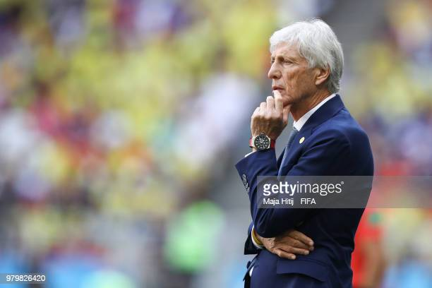 Jose Pekerman Head coach of Colombia reacts during the 2018 FIFA World Cup Russia group H match between Colombia and Japan at Mordovia Arena on June...