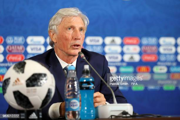 Jose Pekerman Head coach of Colombia speaks during the press conference after the 2018 FIFA World Cup Russia group H match between Poland and...