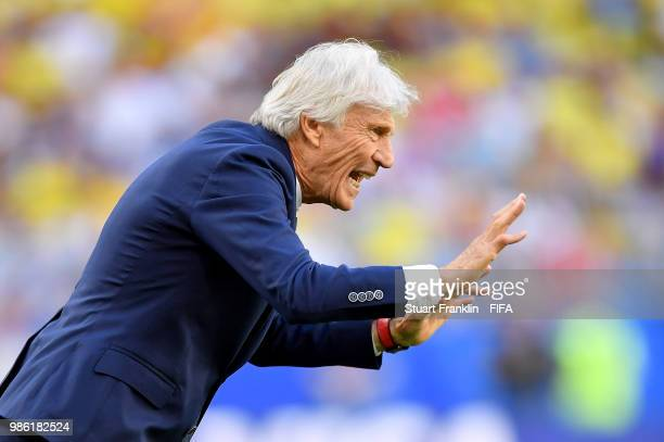 Jose Pekerman Head coach of Colombia urges on his team during the 2018 FIFA World Cup Russia group H match between Senegal and Colombia at Samara...