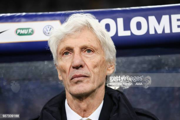 Jose Pekerman the head coach / manager of Colombia during the International Friendly match between France and Colombia at Stade de France on March 23...