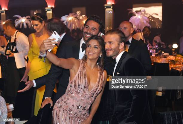 Jose 'Pepe' Antonio Baston, Eva Longoria and David Beckham attend the amfAR Gala Cannes 2017 at Hotel du Cap-Eden-Roc on May 25, 2017 in Cap...