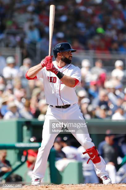 Jose Peraza of the Boston Red Sox at bat against the New York Yankees of a Grapefruit League spring training game at JetBlue Park at Fenway South on...