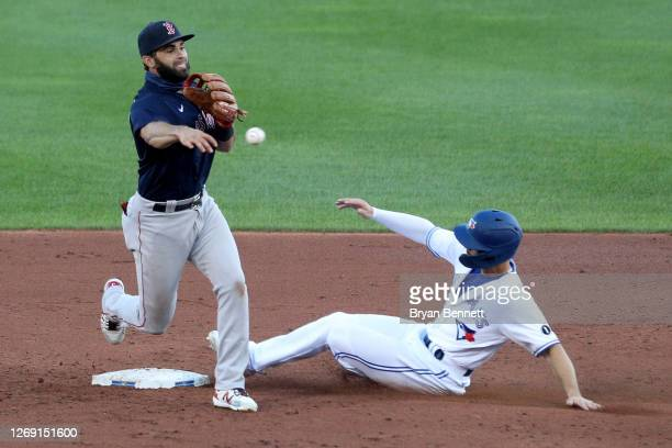 Jose Peraza of the Boston Red Sox looks to turn a double play as Randal Grichuk of the Toronto Blue Jays slides into second base during the second...