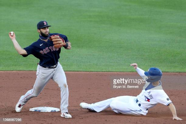 Jose Peraza of the Boston Red Sox turns a double play as Randal Grichuk of the Toronto Blue Jays slides into second base during the second inning at...