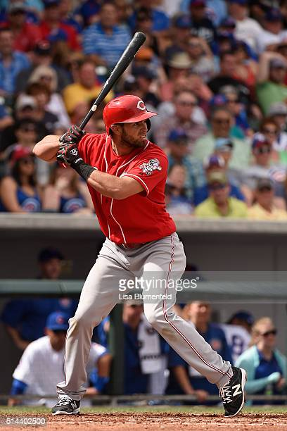 Jose Peraza of the Cincinnati Reds bats against the Chicago Cubs on March 5, 2016 in Mesa, Arizona.
