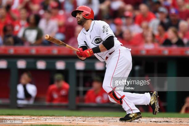 Jose Peraza of the Cincinnati Reds bats against the Texas Rangers at Great American Ball Park on June 14, 2019 in Cincinnati, Ohio.
