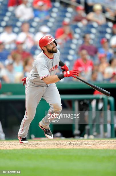 Jose Peraza of the Cincinnati Reds bats against the Washington Nationals during game one of a doubleheader at Nationals Park on August 4, 2018 in...