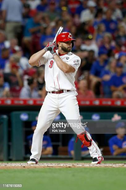 Jose Peraza of the Cincinnati Reds bats during the game against the Chicago Cubs at Great American Ball Park on August 10, 2019 in Cincinnati, Ohio....