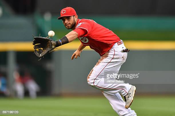 Jose Peraza of the Cincinnati Reds fields a ground ball against the Texas Rangers at Great American Ball Park on August 23, 2016 in Cincinnati, Ohio.